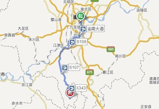 从重庆主城区开车到四面山风景区总共驾驶约145.