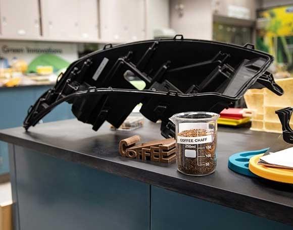咖啡豆外壳复合材料已经应用在前照灯外壳等零部件上